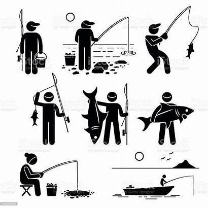 Fishing Pictogram Vector Cliparts Stick Recreational Enjoying