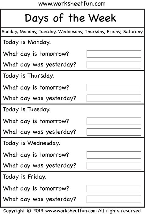 days   week worksheet  printable worksheets