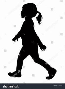 Walking Girl Silhouette Vector Stock Vector 513455608 ...