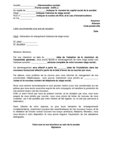 transfert de siege social exemple gratuit de lettre déclaration changement siège
