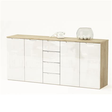 White Gloss And Oak Sideboard by Harold Large Sideboard In Brushed Oak And White Gloss