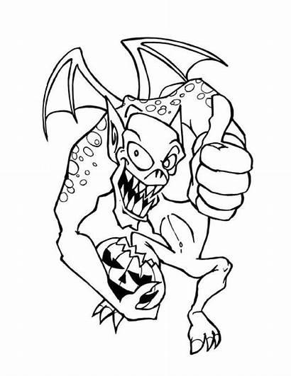 Coloring Halloween Happy Monster Pages Pumpkin Gremlins