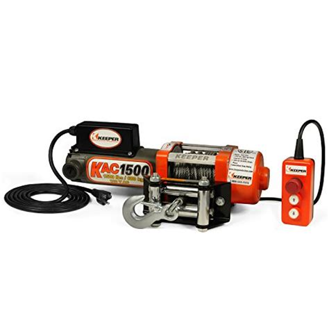 keeper kac1500 110 120v ac electric winch with held remote 1500 lb capacity garage