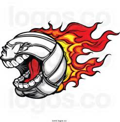 Flaming Volleyball Clip Art
