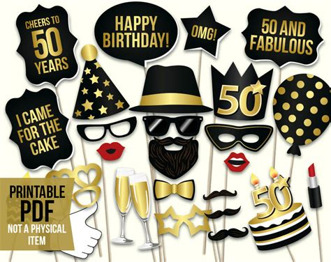 Black And Gold 50th Birthday Decorations by 50th Birthday Photo Booth Props Printable Pdf Black And Gold