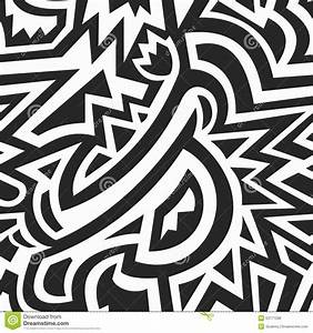 Monochrome African Geometric Seamless Pattern Stock Vector ...