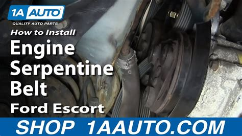 install replace engine serpentine belt ford escort
