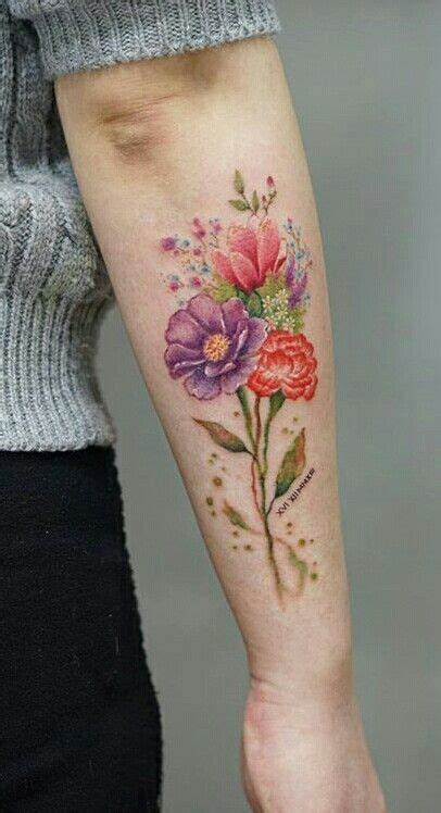 flowers  colors  upper arm  clavicle tattoos