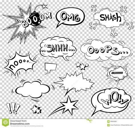Comic Speech Bubbles Set Wording Sound Effect Design For