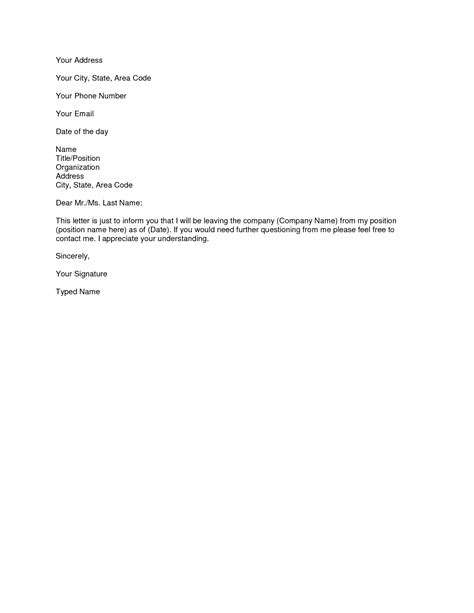 microsoft word resignation letter template simple
