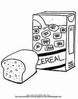 Coloring Cereal Pages Bread Clipart Colouring Printable Box Food Template Webstockreview Sheets Comments sketch template