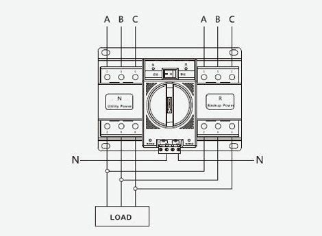 3 Pole Switch Diagram by Automatic Transfer Switch 3 4 Pole 6 To 63 S Ato