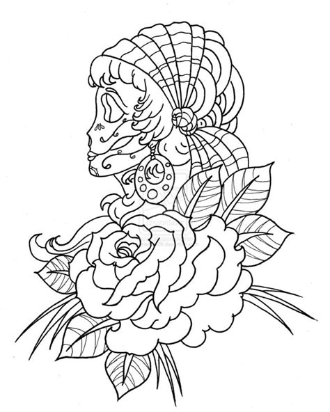 Coloring Page Skull Sugar Mexican Candy | Candyskull Skull Skulls Ladies Lady Indian Rose Roses