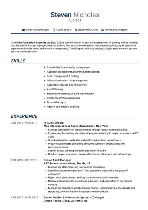 We have professional cv examples from experts in your industry. Auditor Resume Example | CV Sample Guide 2020 - ResumeKraft