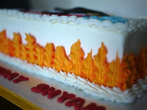 leaf tip  flames firefighter cake piping piping