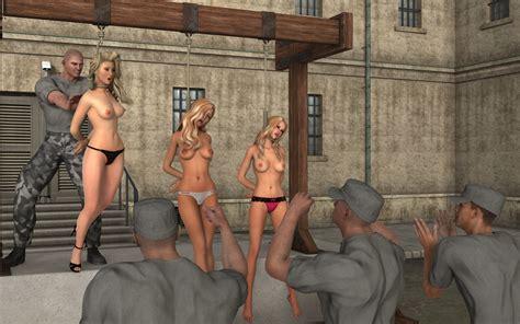 Blonde Girls Public Execution Hanged Girl Erotic Art
