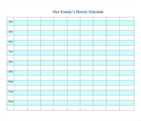 hourly schedule template   word excel