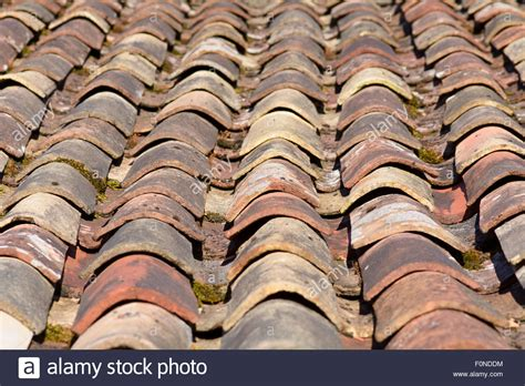 terracotta curved roof tiles on barn on farm in