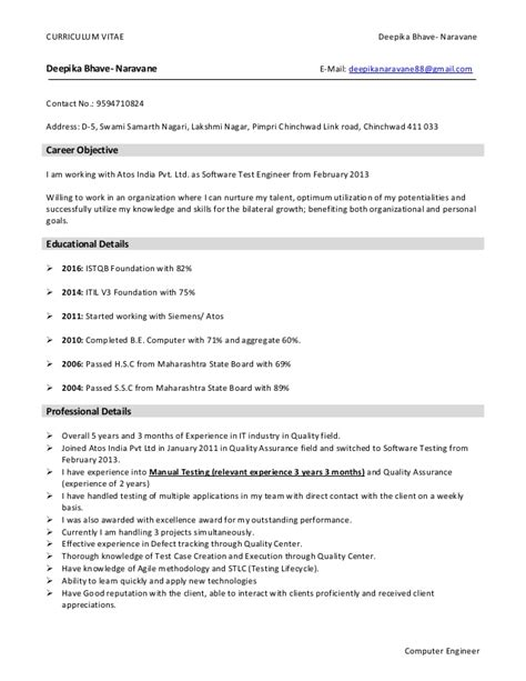 Professional Resume For Software Testing by Career Objective Software Testing Resume