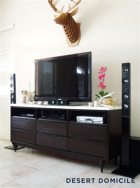 mid century modern dresser turned entertainment center