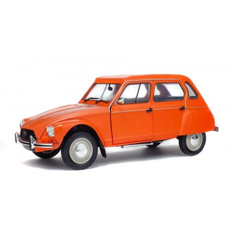 renault grey voiture miniature citroen dyane 6 1967 orange 1 18