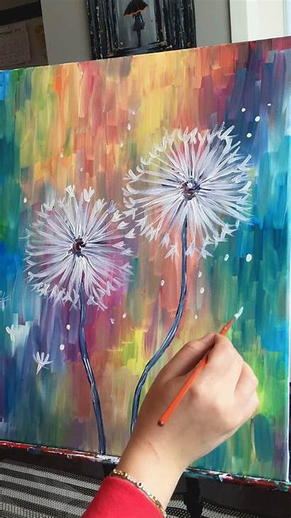 Painting Paintings Abstract Canvas Dandelion Colorful Acrylic