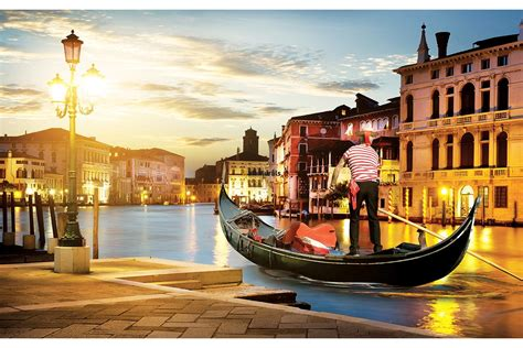 Gondola Boat Man by Wallpapers Mural Gondola In Venice Foreground With Boatman