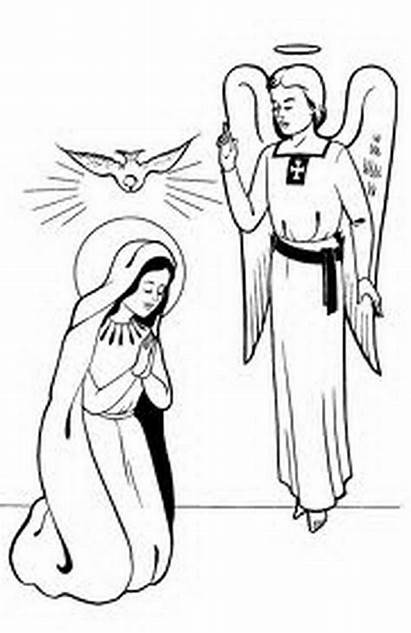 Coloring Pages Conception Immaculate Mother Angel Clip