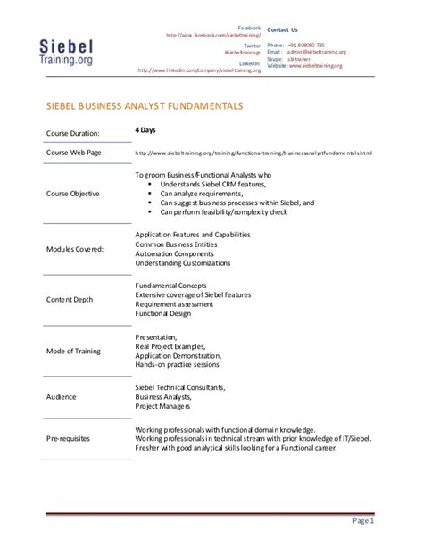 Siebel Order Management Sle Resume by Siebel Org Siebel Business Analyst 28 Images Siebel