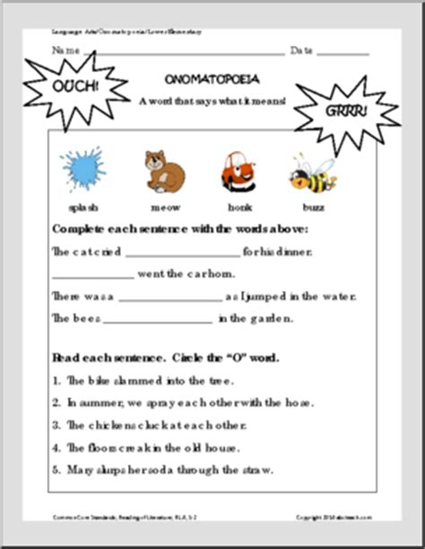 onomatopoeia writing activity figurative language common core worksheets abcteach