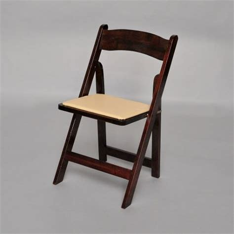fruitwood folding chair with ivory padded seat