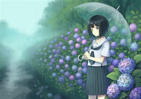 wallpaper raining flowers anime school girl transparent