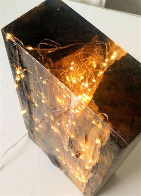 resin wood light block resin art   resin