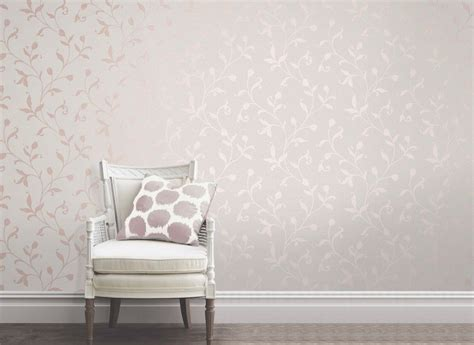 fine decor quartz floral rose gold  white wallpaper fd