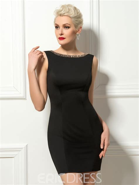 Sheath Deep-V Back Scoop Neck Mini Cocktail Dress 11291620 ...