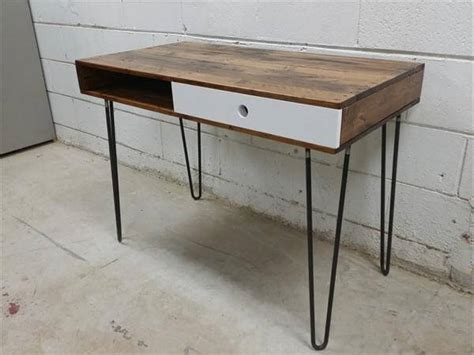 diy desk with hairpin legs wooden pallet desk hairpin legs 101 pallets