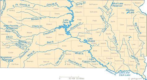 Map of South Dakota Lakes, Streams and Rivers