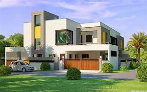 3D Front Elevation com: 1 Kanal Corner Plot @ 2 House