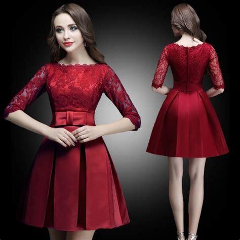 gaun pesta mini dres model baju dress brokat modern