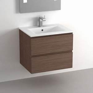 Meuble Salle De Bain 30 Cm : meuble salle de bain 60 cm noyer 2 tiroirs plan c ramique cardo ~ Melissatoandfro.com Idées de Décoration