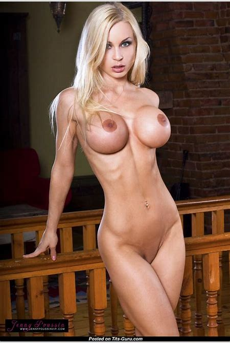 Jenny Poussin - Topless Blonde Babe with Nude Silicone ...