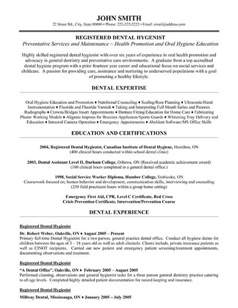 Dental Hygienist Resume Exle by Registered Dental Hygienist Resume Template Premium Resume Sles Exle
