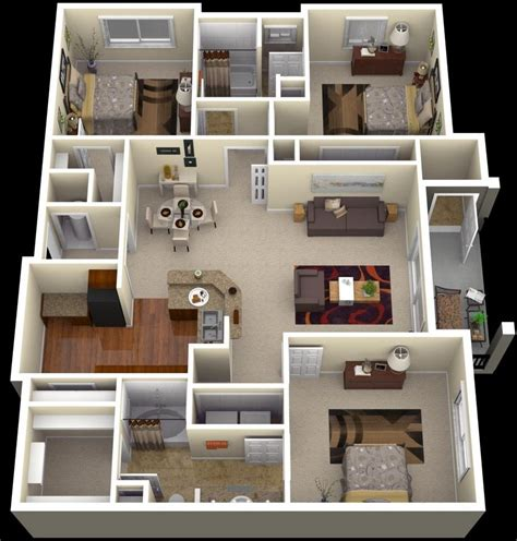 3 Bedroom Apartment/House Plans Three bedroom house plan