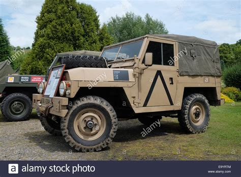 a 1980 landrover series iii lightweight in army colours stock royalty free