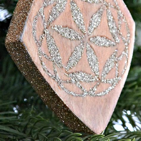 wood inlay ornament  german glass glitter ugly