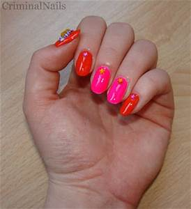 Criminal Nails ABC Challenge Letter O Orange & Neon