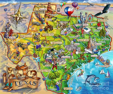 texas illustrated map painting  maria rabinky