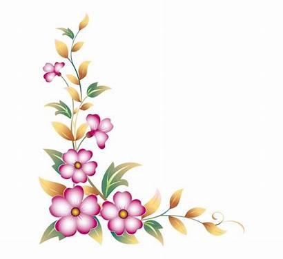 Flower Corner Clipart Floral Drawing Border Side