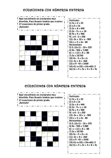 foto de Crucigrama ecuaciones nº enteros Ecuaciones Juegos