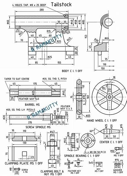 Machine Drawing Lathe Tailstock Tail Drawings Paintingvalley
